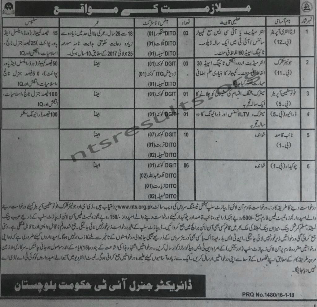 Science And Information Technology Department Balochistan NTS Job