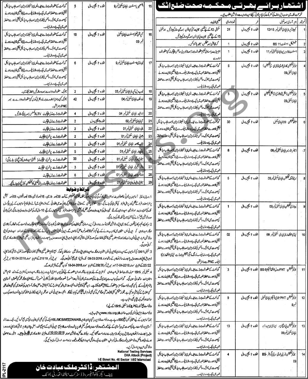 District Health Authority Attock NTS Latest Health Jobs