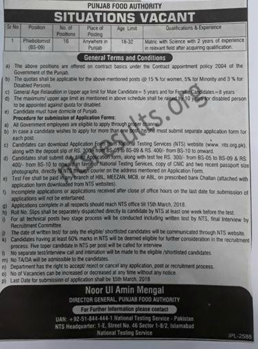 Punjab Food Authority Lahore Jobs NTS Government of Punjab Latest