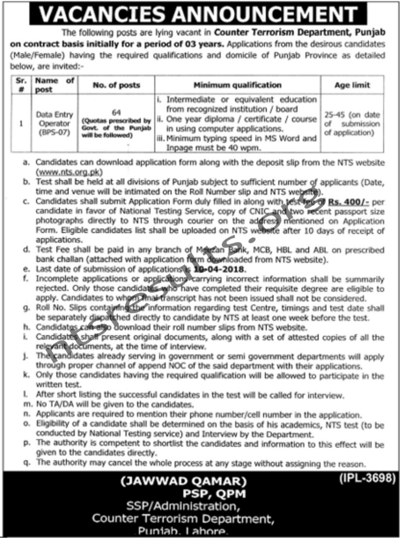 Counter Terrorism Department CTD Punjan Jobs Via NTS