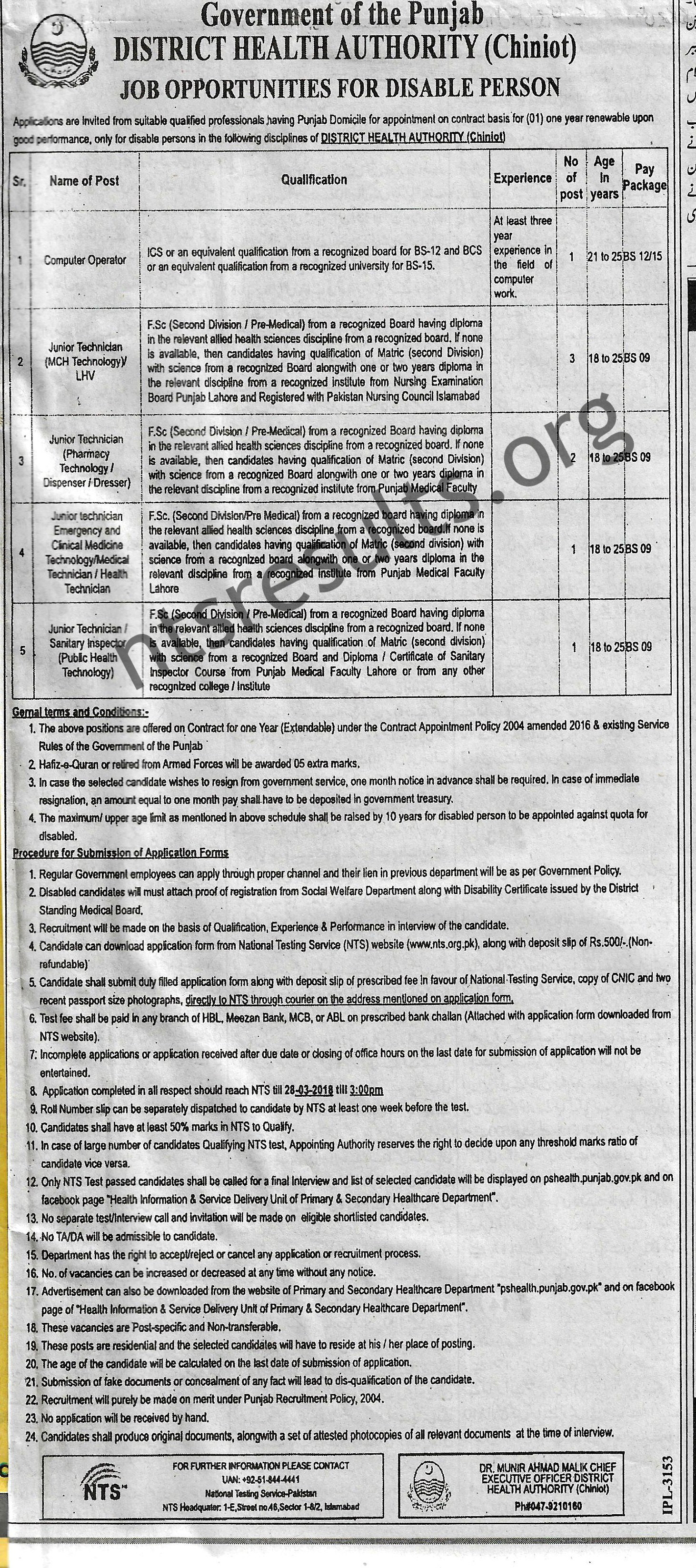 District Health Authority DHA Chiniot Disable Quota Jobs Via NTS