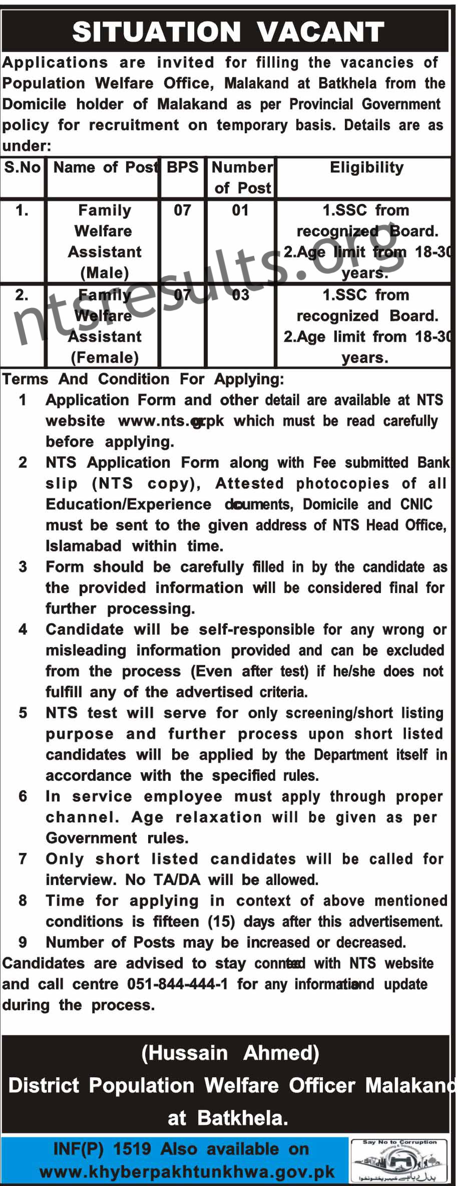 District Population Welfare Officer Malakand NTS KPK Jobs