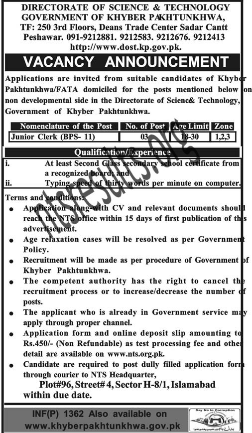 Directorate of Science And Technology NTS KPK Jobs