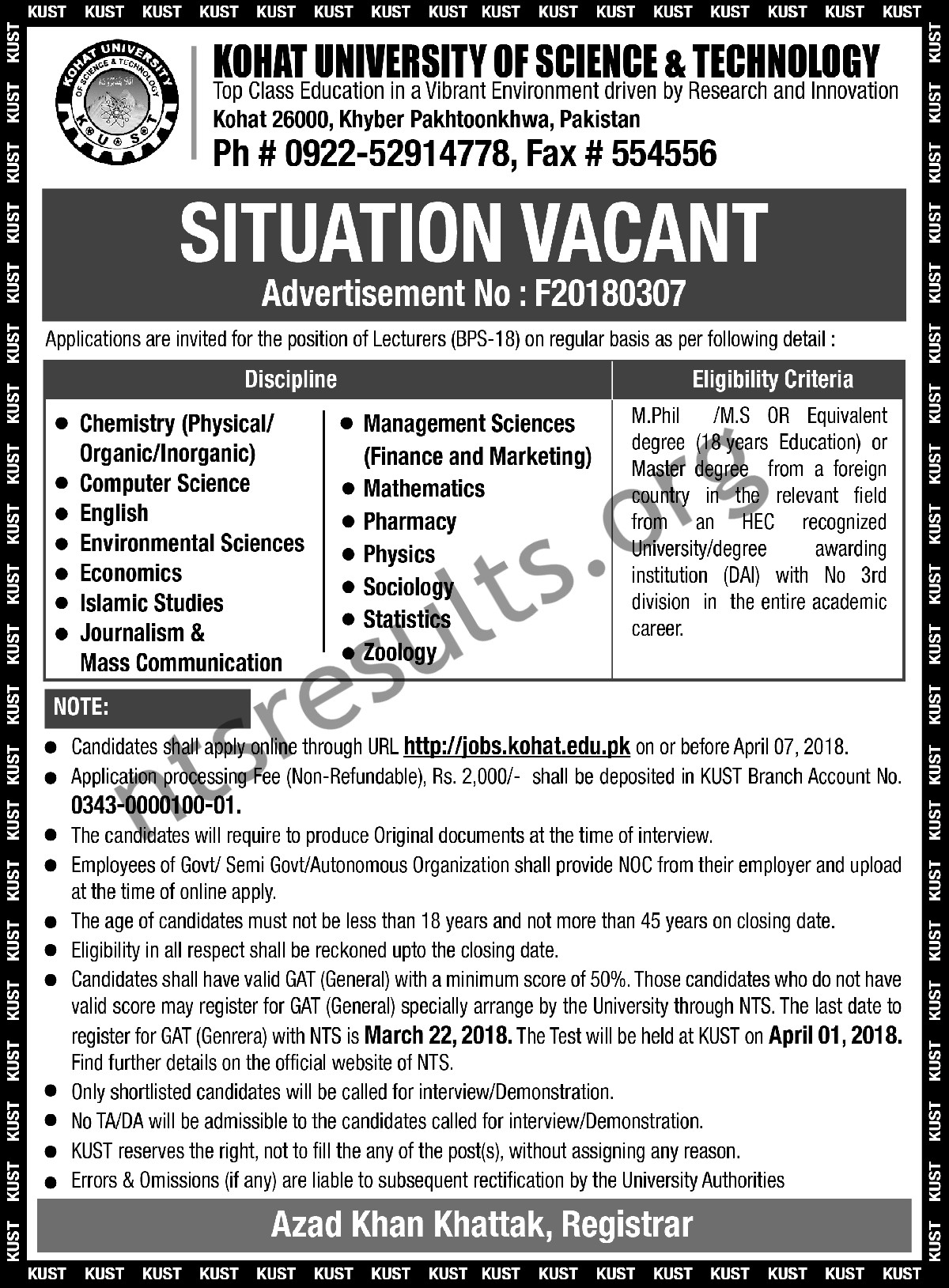 Kohat University of Science And Technology Jobs