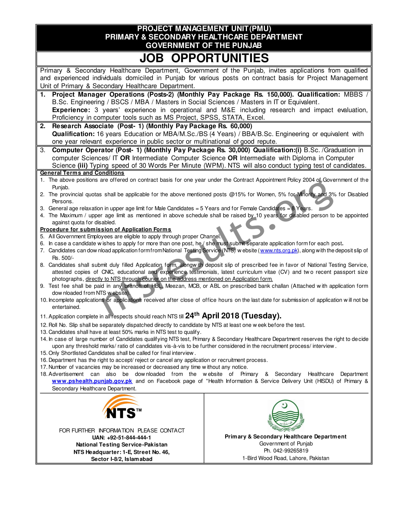 Healthcare Department Project Management Unit PMU Jobs Via NTS