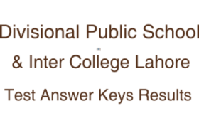 Divisional Public School DPS Inter College Lahore NTS Test 4th 5th July 2018 Answer Keys Result