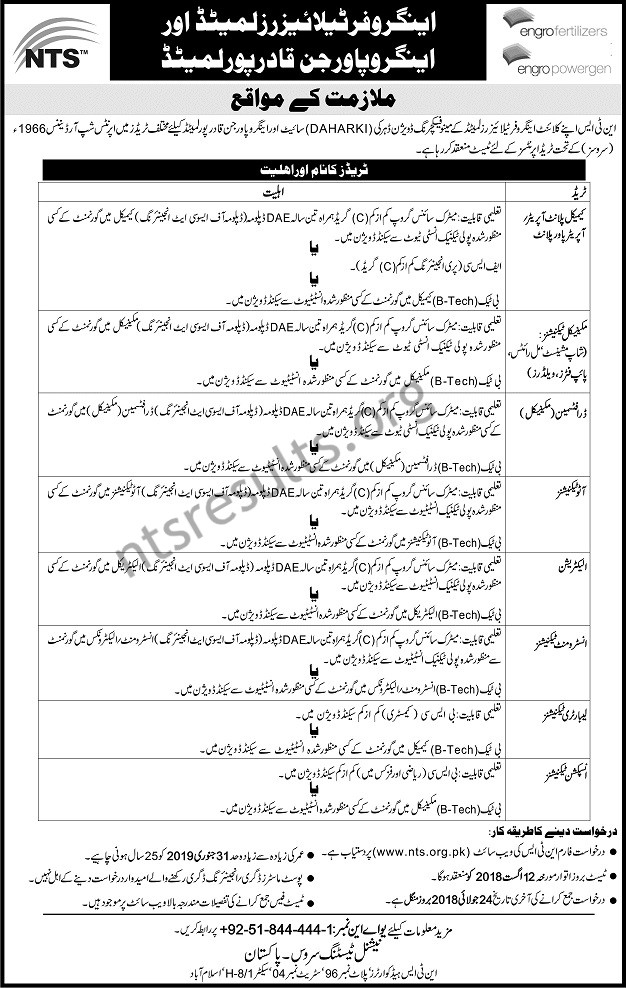 Engro Fertilizers Ltd Engro Power Gen Qadirpur Ltd Jobs Via NTS