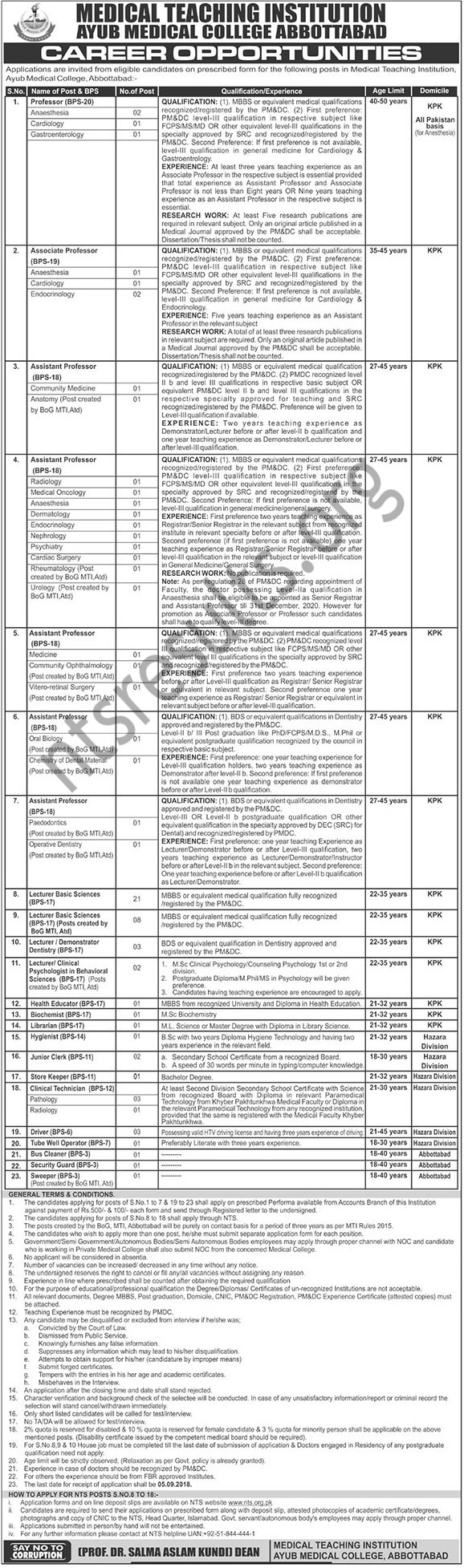 Ayub Medical College Teaching Institution Abbottabad Jobs Via NTS
