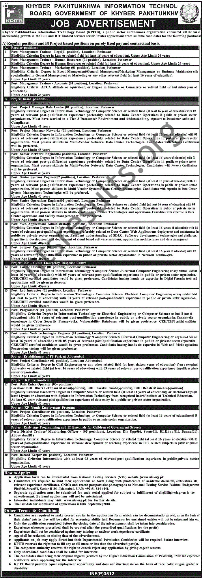 Khyber Pakhtunkhwa Information Technology Board Jobs Via NTS