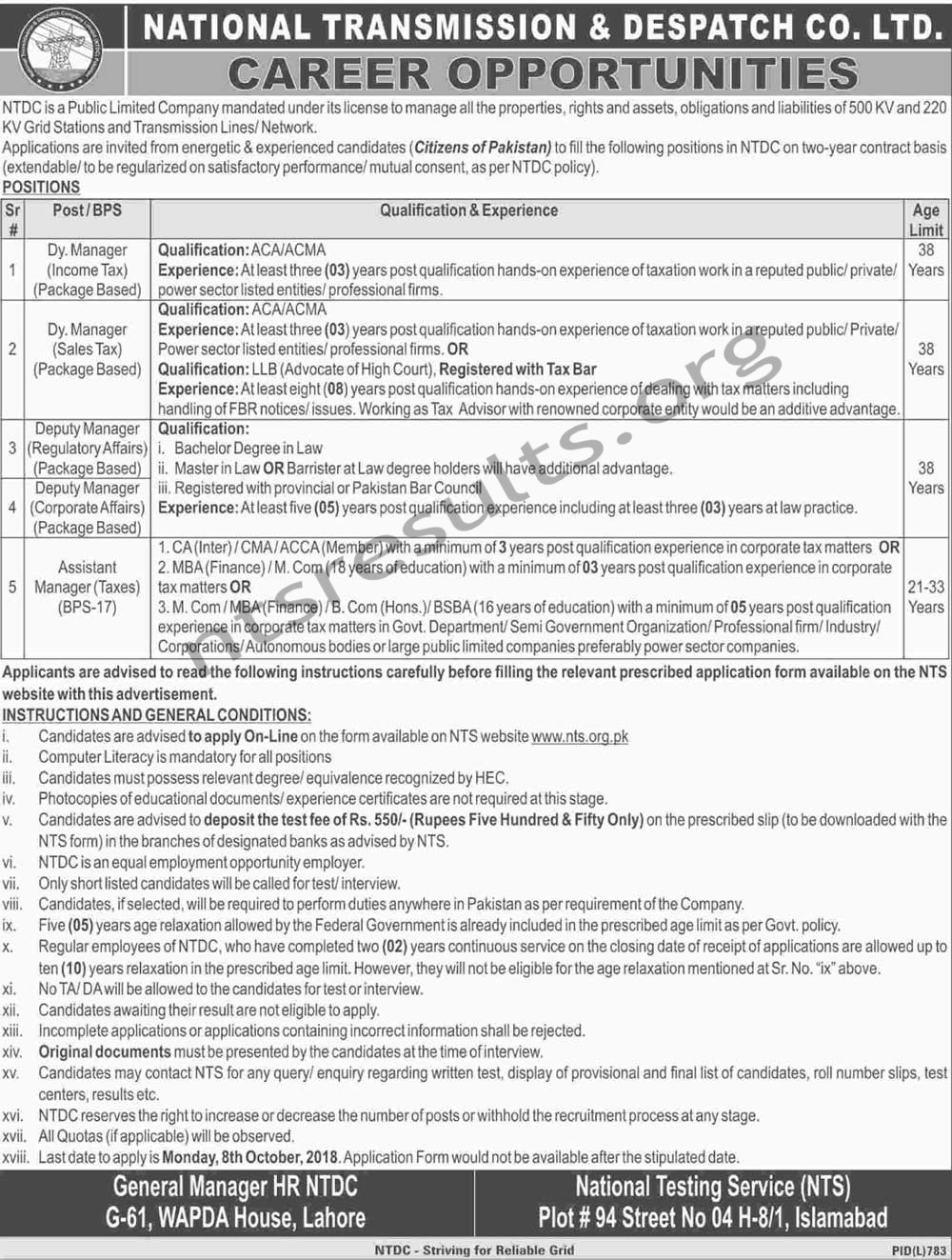 National Transmission Dispatch Company NTDC BPS 17 18 Jobs Via NTS