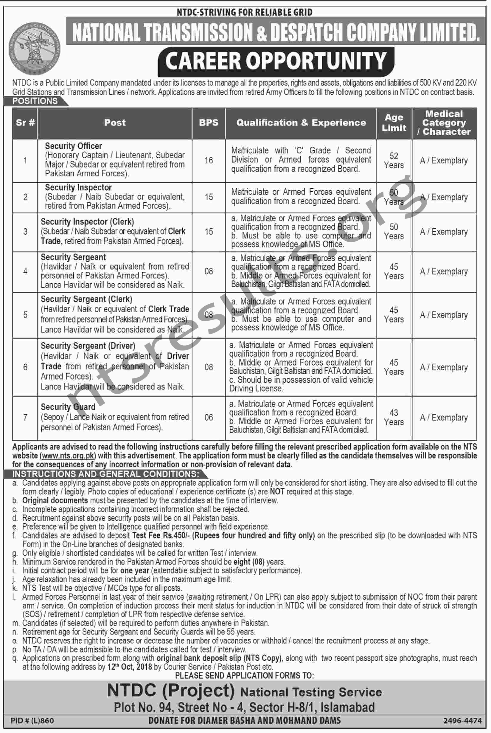 NTDC National Transmission Dispatch Company Security Jobs Via NTS