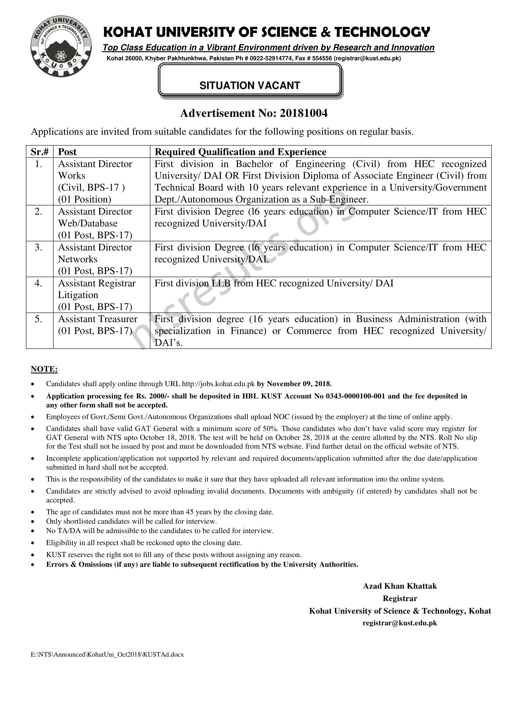 Kohat University of Science Technology KUST Jobs Via NTS