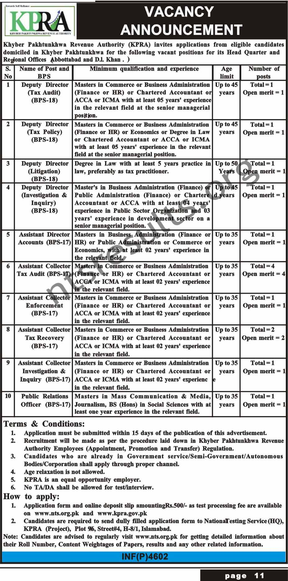 Khyber Pakhtunkhwa Revenue Authority KPRA BPS 17 BPS 18 Jobs Via NTS