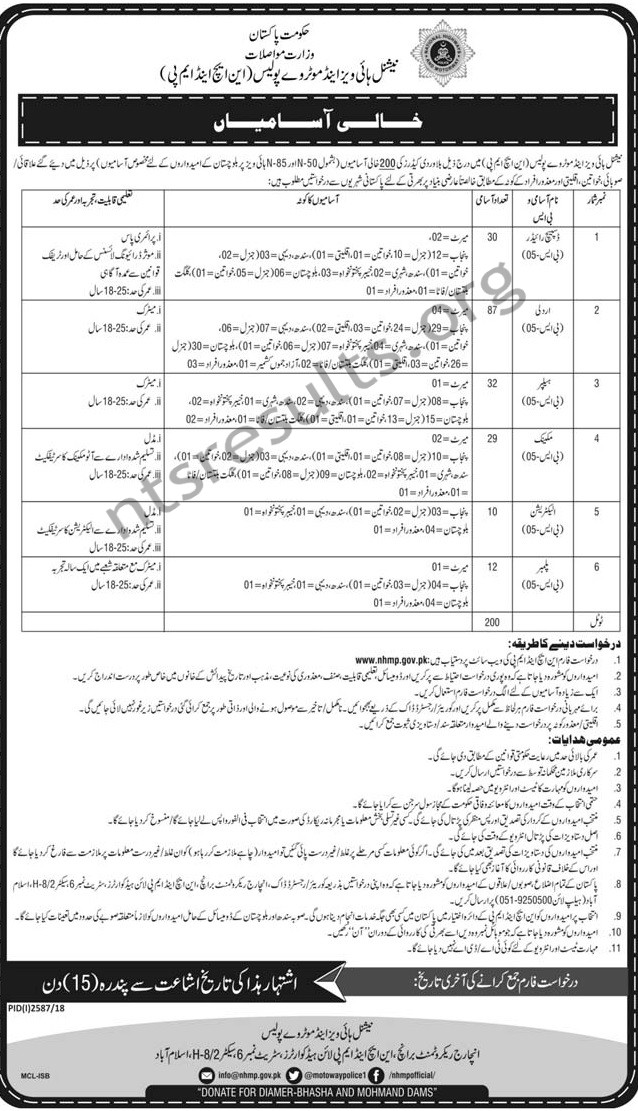 National Highway and Motorway Police NHMP Jobs Application Form