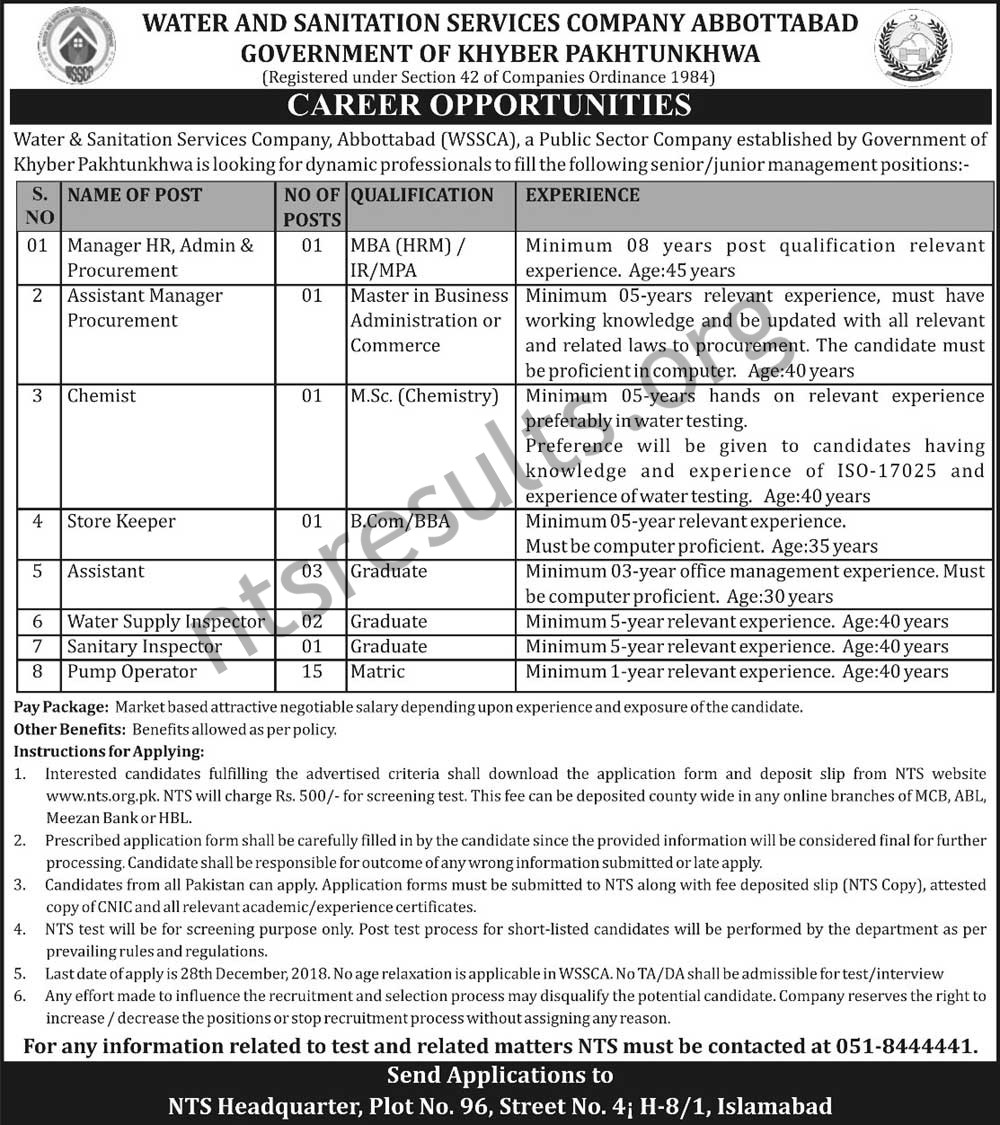 Water and Sanitation Services Company Abbottabad Jobs Via NTS WSSCA