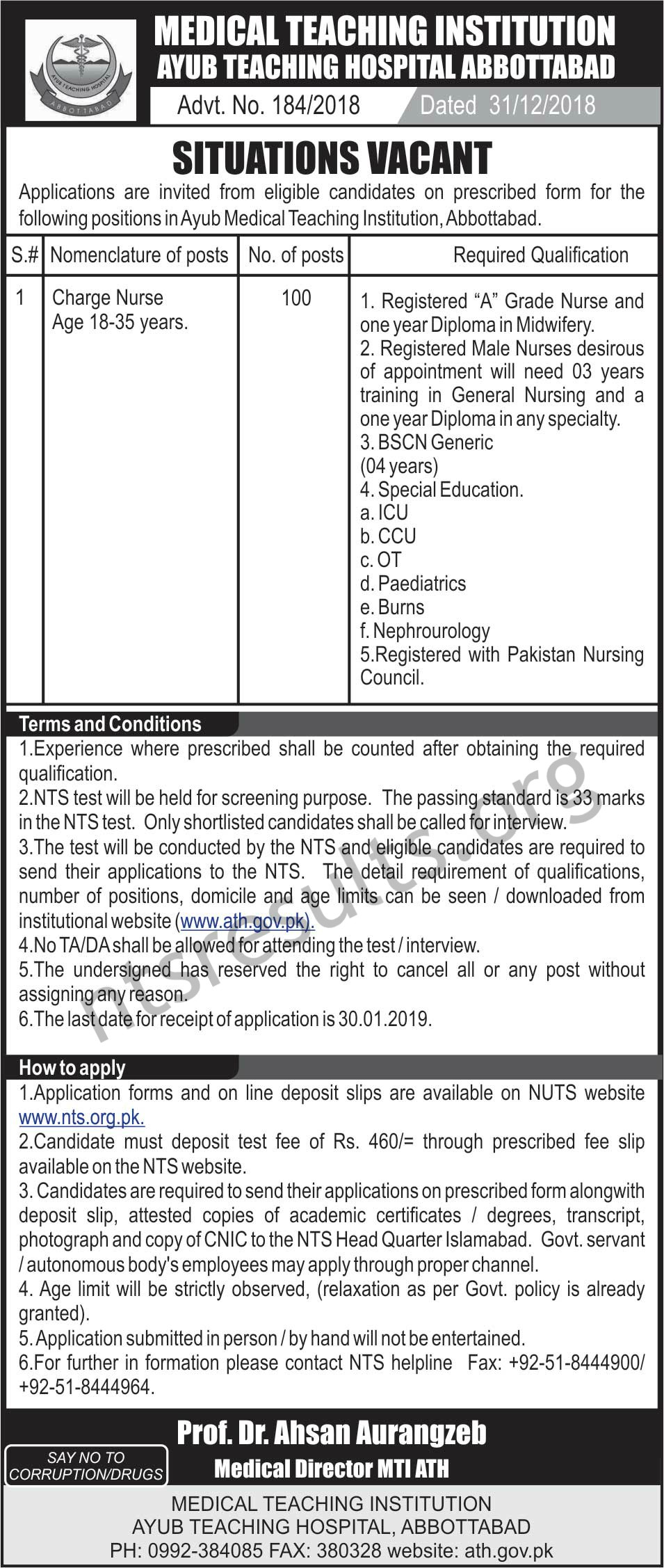 Ayub Teaching Hospital Abbottabad Charge Nurse Jobs Via NTS