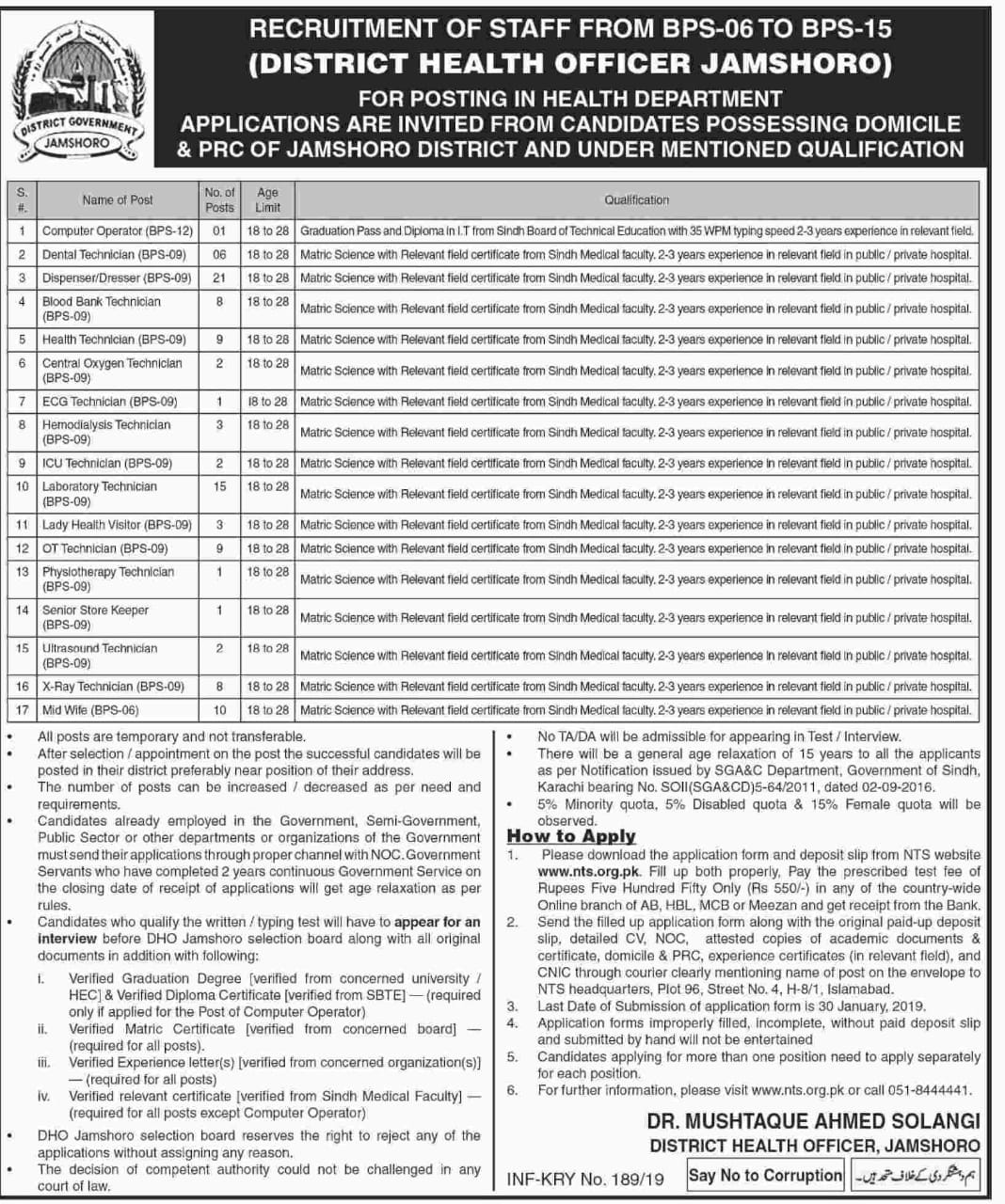 District Health Authority DHA Jamshoro Sindh Jobs Via NTS
