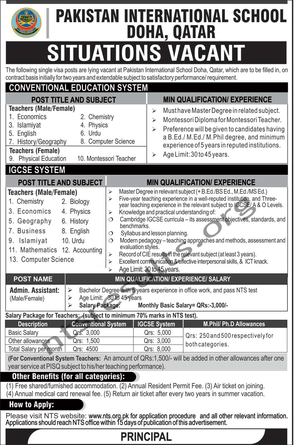 Pakistan International School Doha Qatar Jobs Via NTS