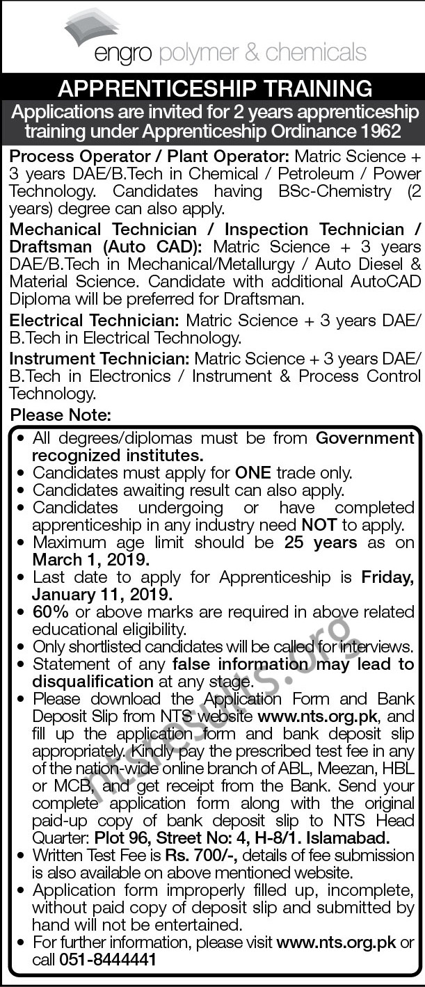 Engro Polymer Chemicals Apprenticeship Training Jobs Via NTS