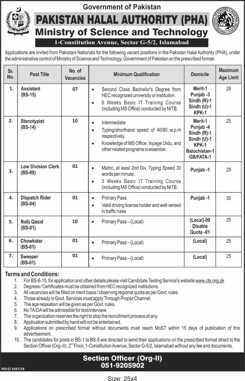 Pakistan Halal Authority PHA Jobs Via CTS