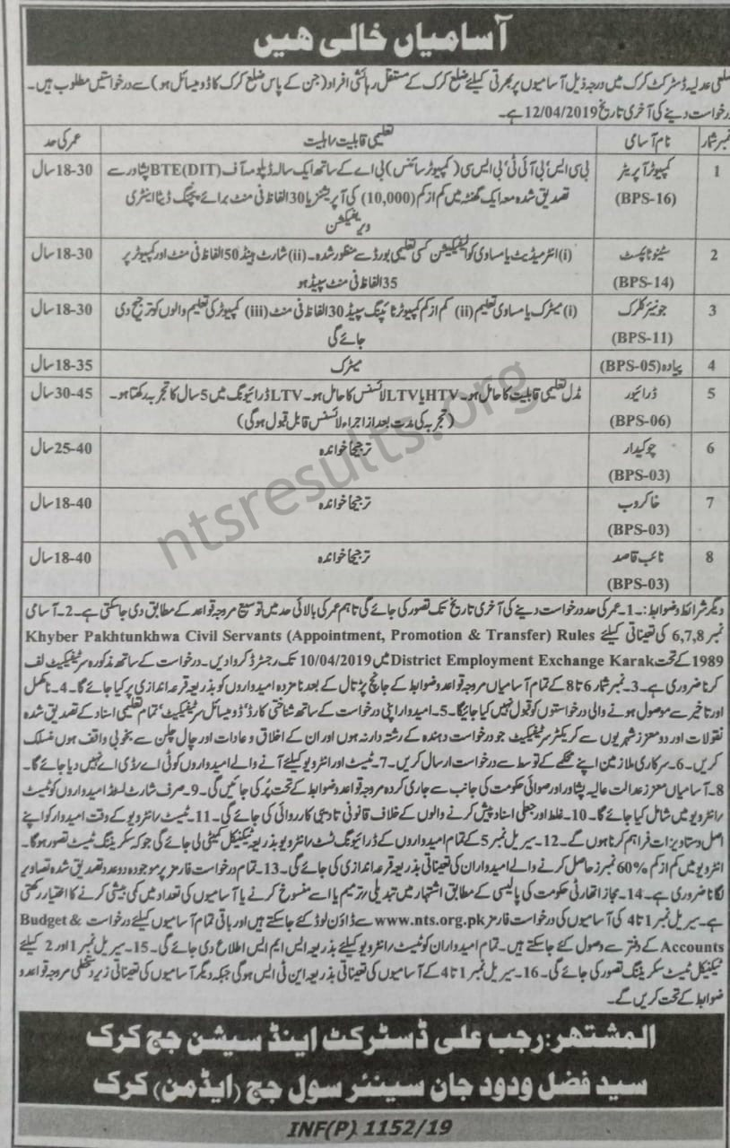 District Court Karak 2019 Jobs Via NTS Download application form
