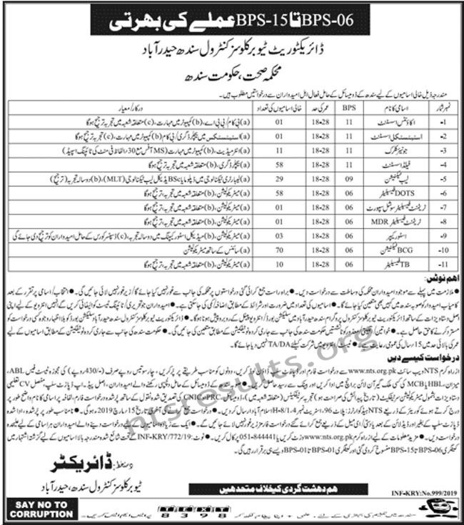 Directorate Tuberculosis Control Department Health Department Jobs Via NTS