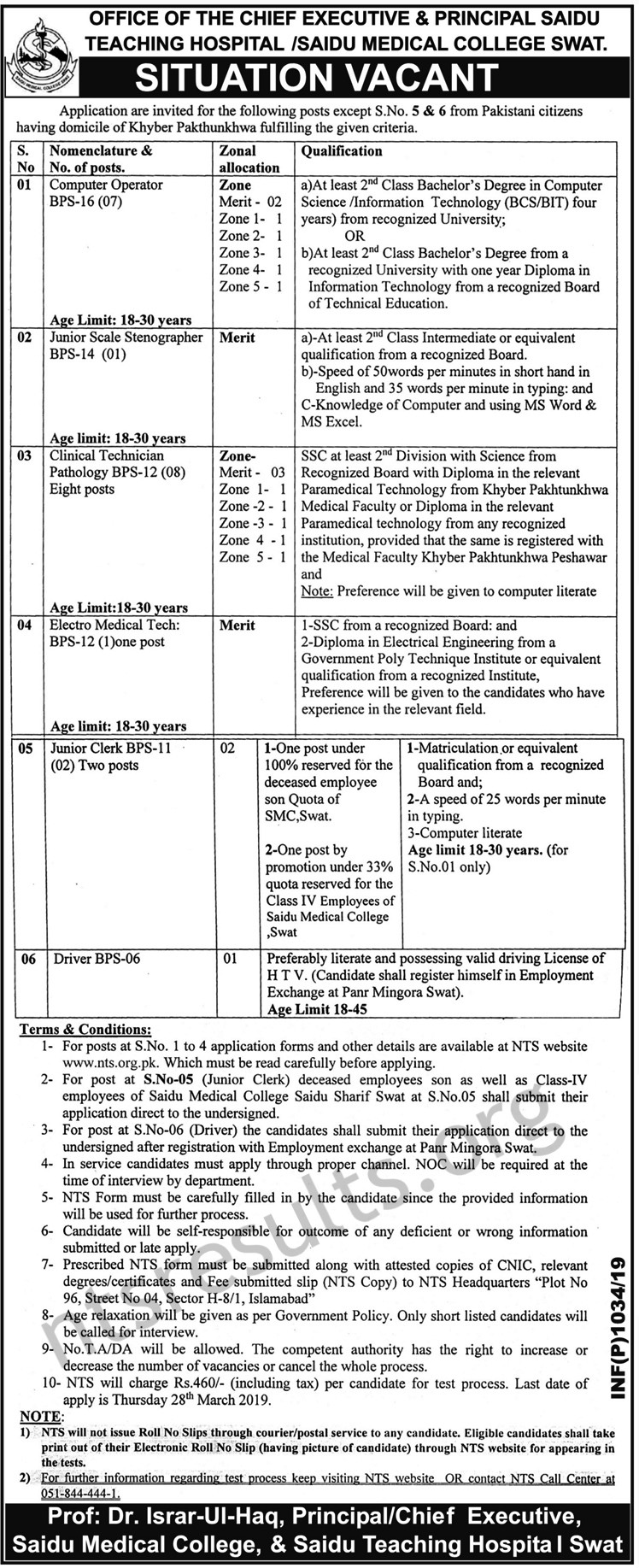 Saidu Teaching Medical College SMC Saidu Sharif Swat Jobs Via NTS