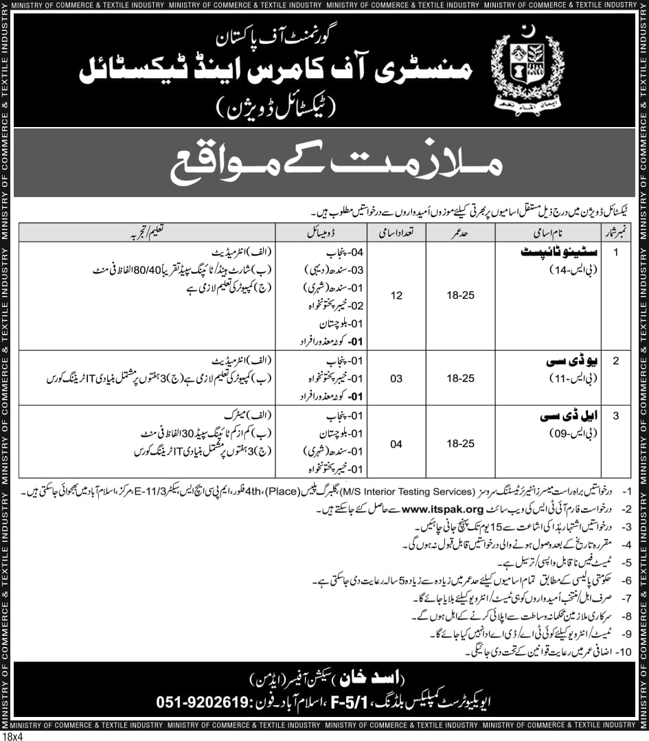Ministry of Commerce Textile Division Jobs ITS Test Result