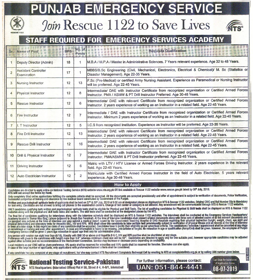 Rescue 1122 Punjab Emergency Service Jobs Via NTS
