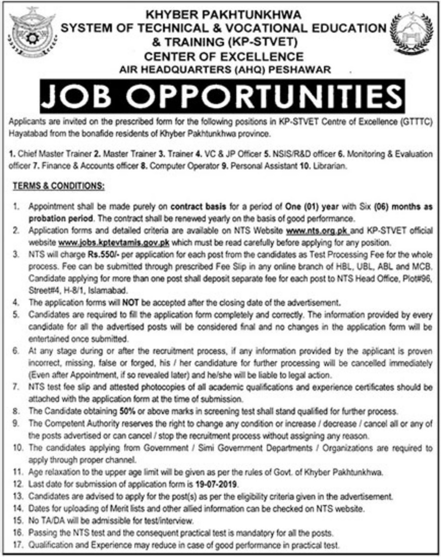 System Of Technical And Vocational Education And Training KPK STVET Jobs NTS Test Roll No Slip