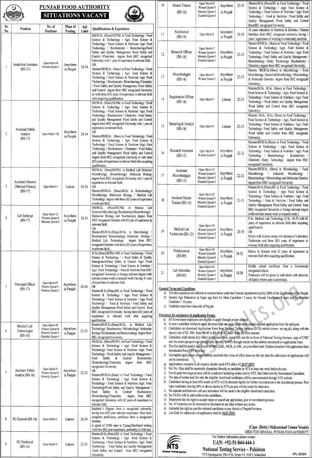 Punjab Food Authority PFA Jobs NTS Test Roll No Slip