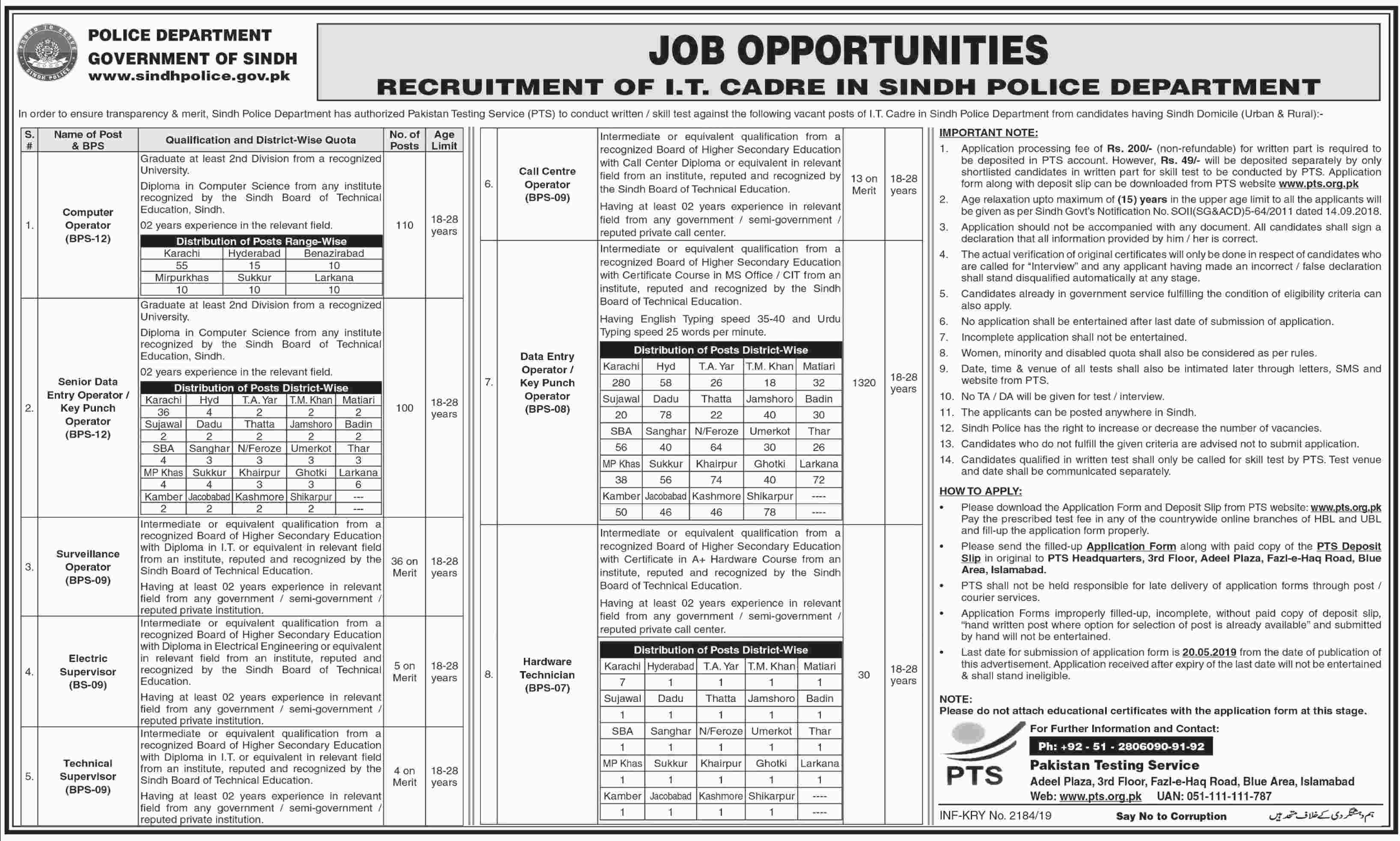Sindh Police Department Information Technology Cadre Jobs PTS Test Result