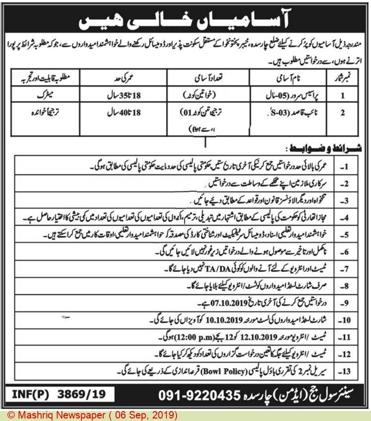 Civil Court Charsadda Process Serve Naib Qasid Jobs September 2019