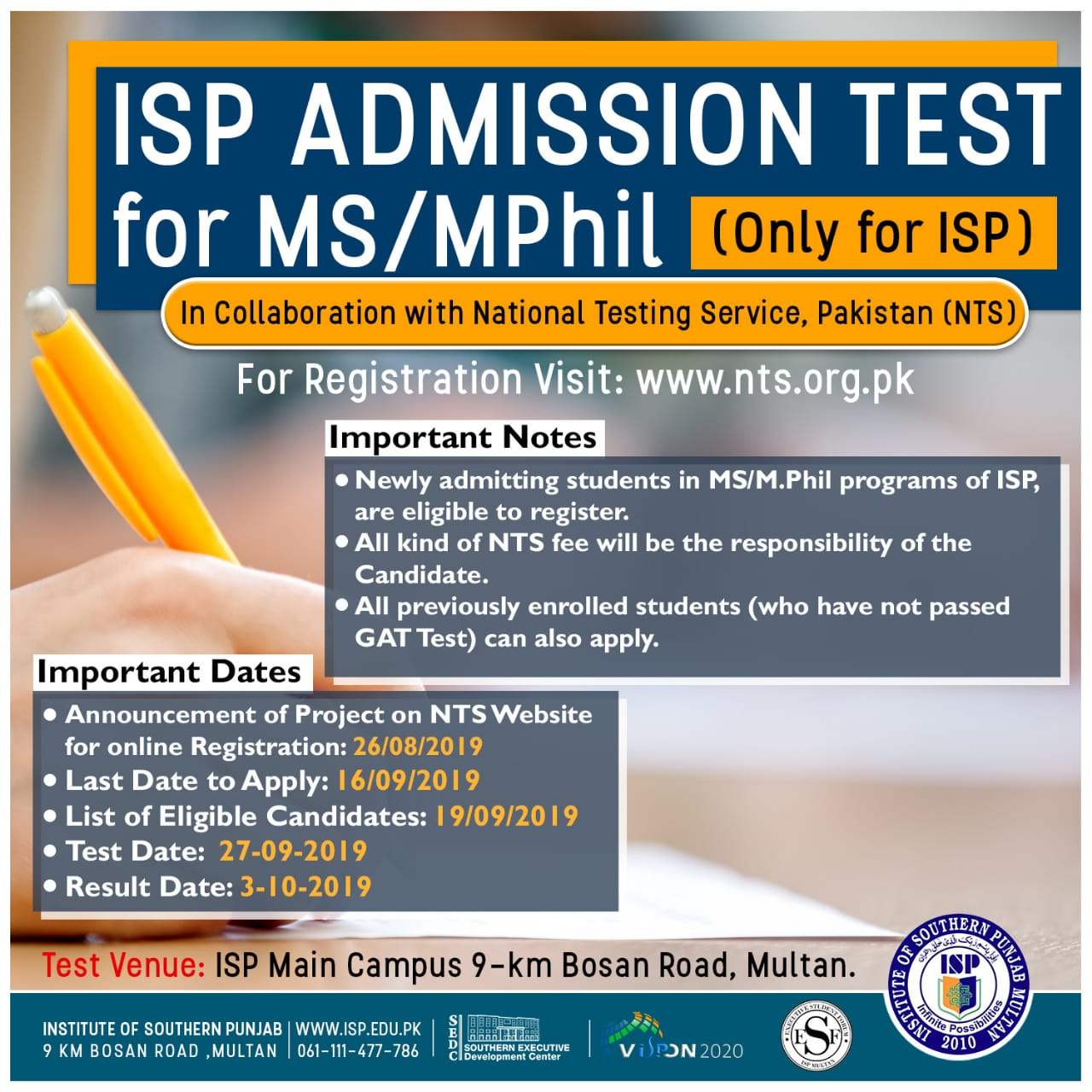 Institute of Southern Punjab ISP Multan MS MPhil Admission NTS Test Roll No Slip