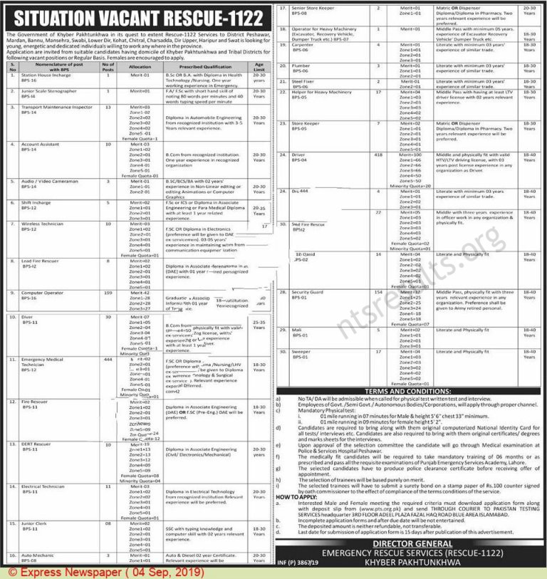 Directorate General Emergency Service Rescue 1122 KPK Jobs Via PTS