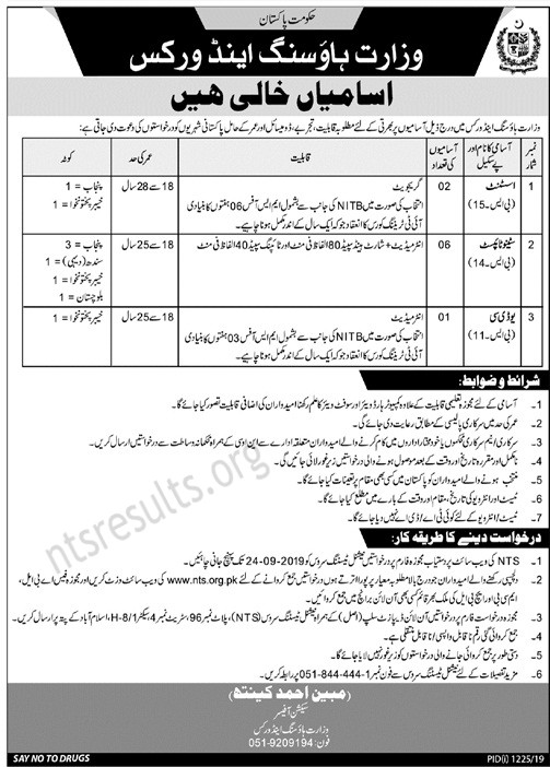 Ministry of Housing Works MOHW Jobs NTS Test Roll No Slip