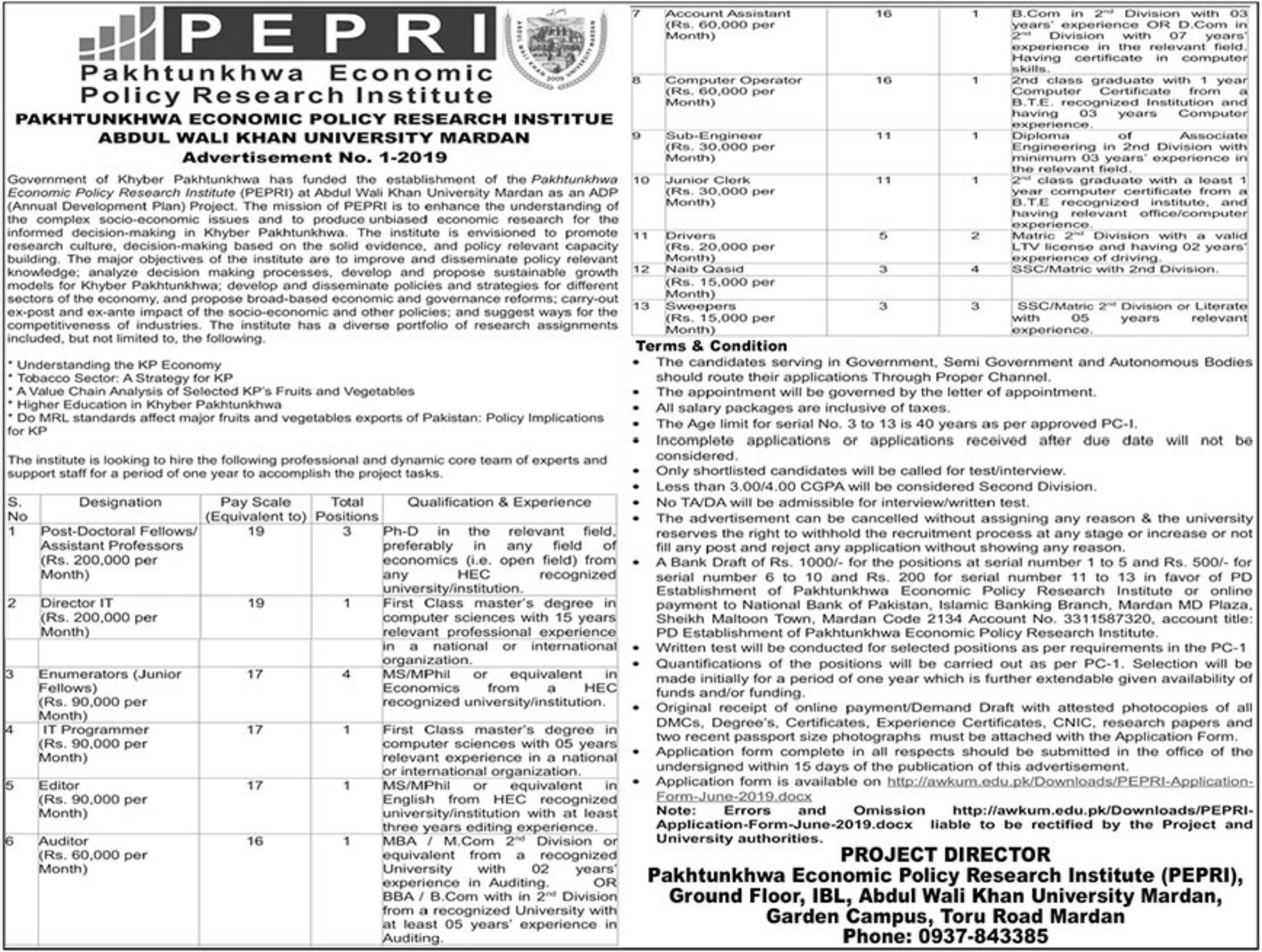 Pakhtunkhwa Economic Policy Research Institute PEPRI AWKU Mardan Jobs NTS Test Result