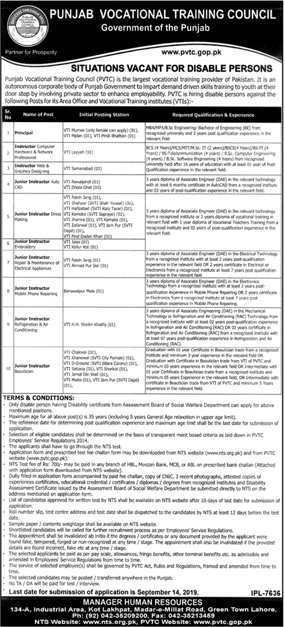 Punjab Vocational Training Council PVTC Jobs Disable Person NTS Test Roll No Slip