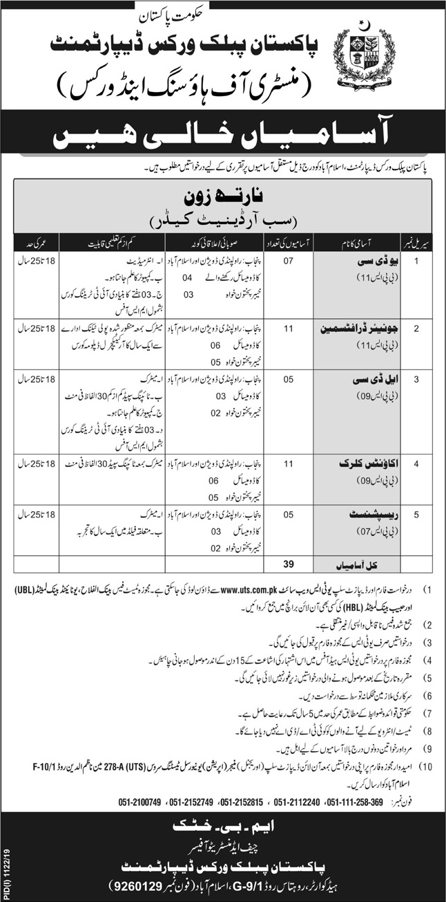 Pakistan Public Works Department PWD Jobs Via UTS