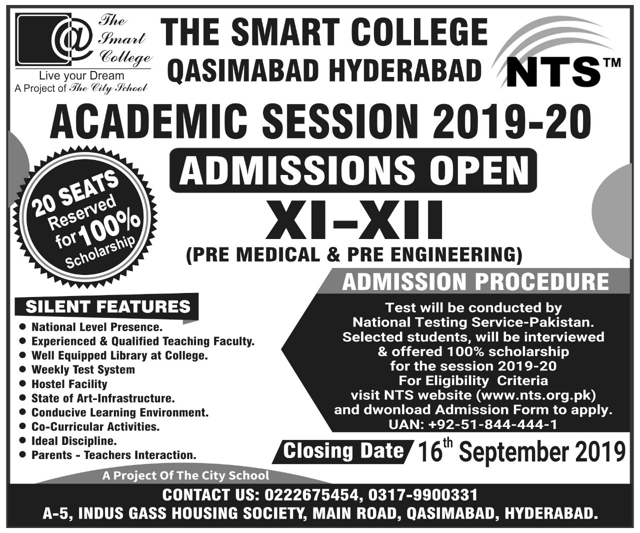 The Smart College Qasimabad Hyderabad Admission NTS Test Roll No Slip