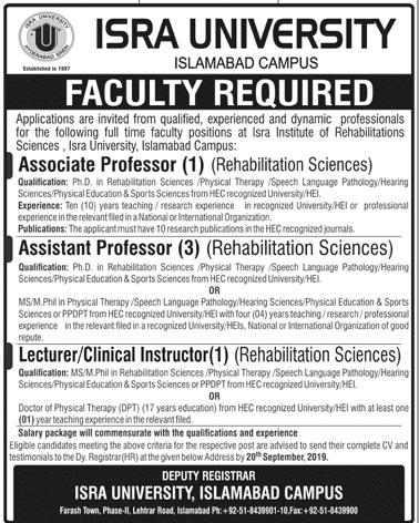Isra University Islamabad Campus Jobs September 2019