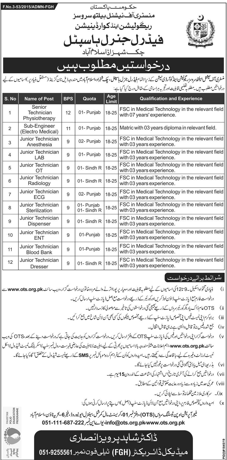 Chak Shahzad Federal General Hospital Islamabad Jobs Via OTS
