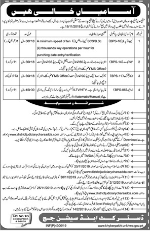 District Judiciary Charsadda Computer Operator Steno Typist Junior Clerk Jobs