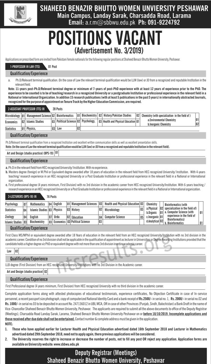 Shaheed Benazir Bhutto Women University SBBWU Peshawar Teaching Jobs