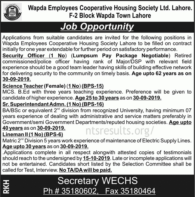 Wapda Employees Cooperative Society Ltd Lahore WECHS Jobs