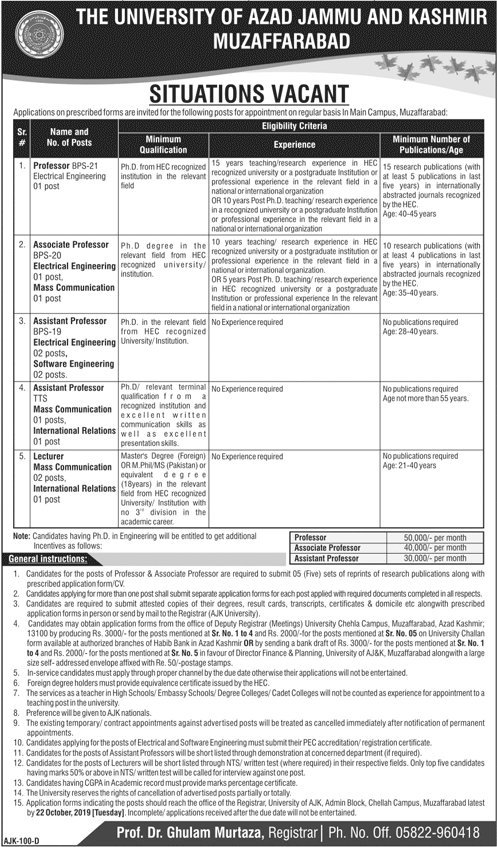 University Of Azad Jammu Kashmir Muzaffarabad AJKU Jobs