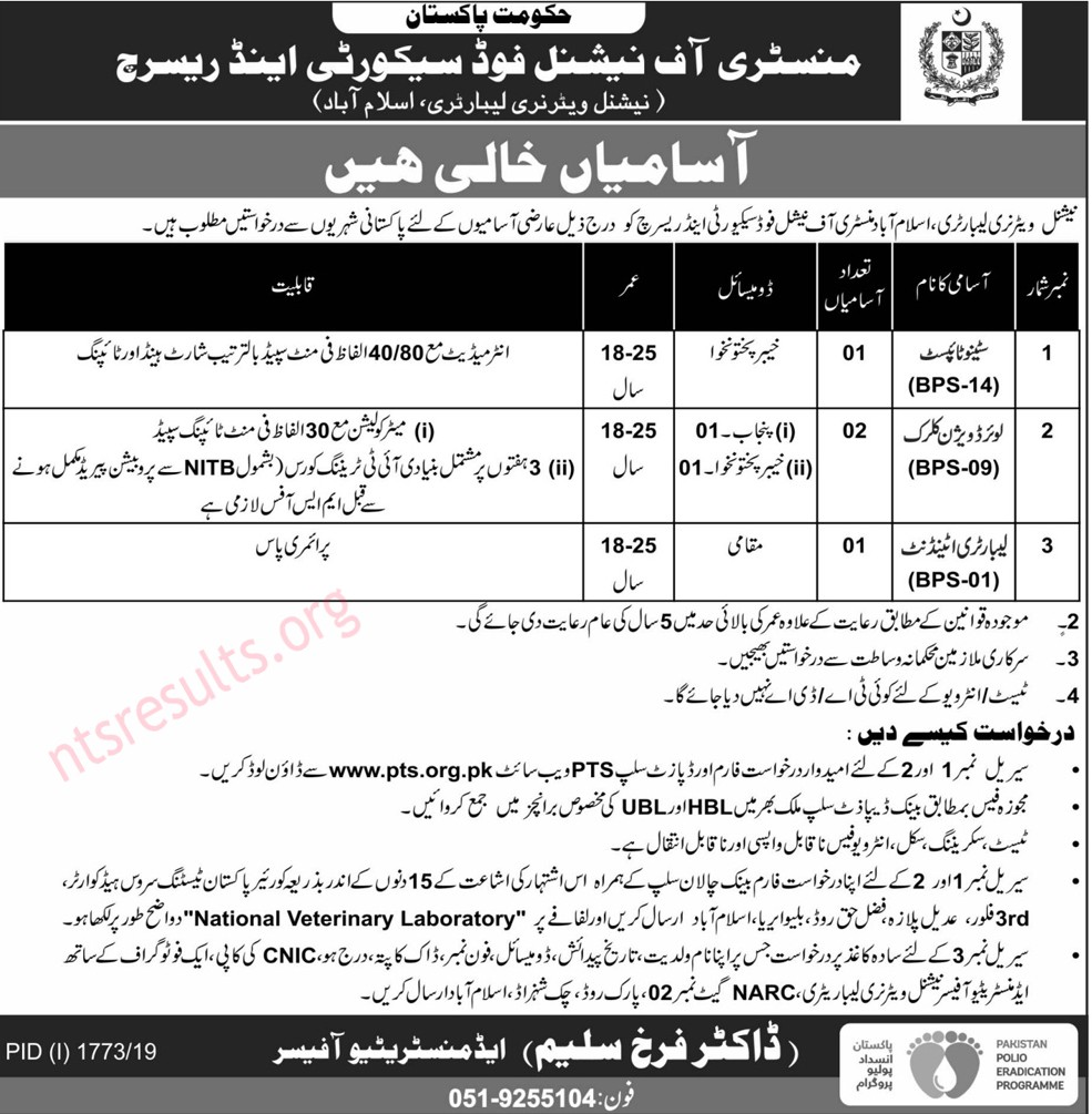 Ministry of National Food Security Research MNFSR Jobs Via PTS