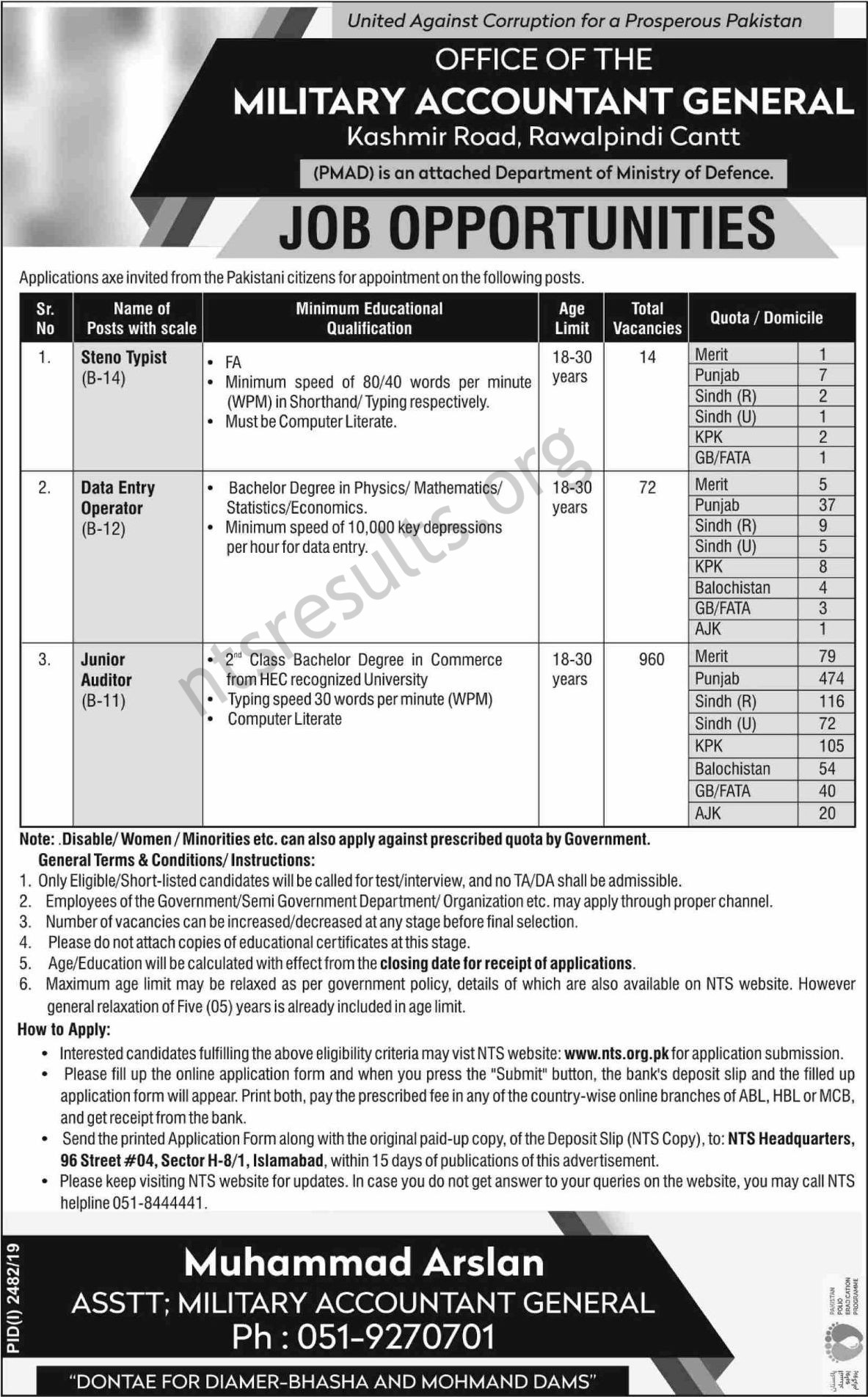 Military Accountant General Office PMAD Jobs NTS Test Roll No Slip