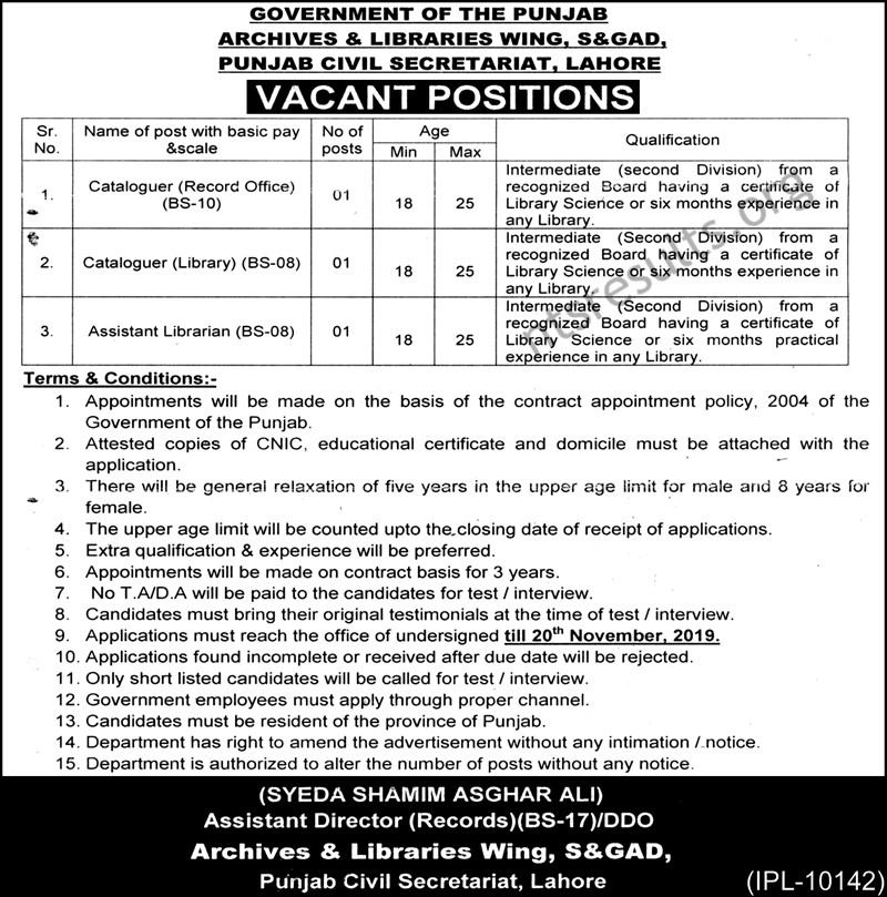 Archives Library Wing SGAD Punjab Civil Secretariat Jobs Lahore