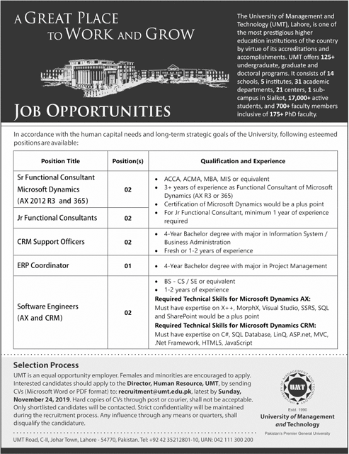 University of Management and Technology UMT Jobs Lahore